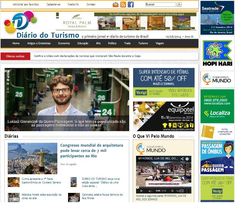 OQue Vi Pelo Mundo no Diário do Turismo