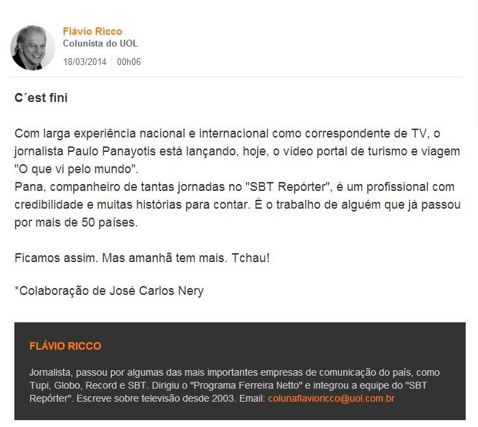 Coluna Flávio Ricco - 18.03.2014
