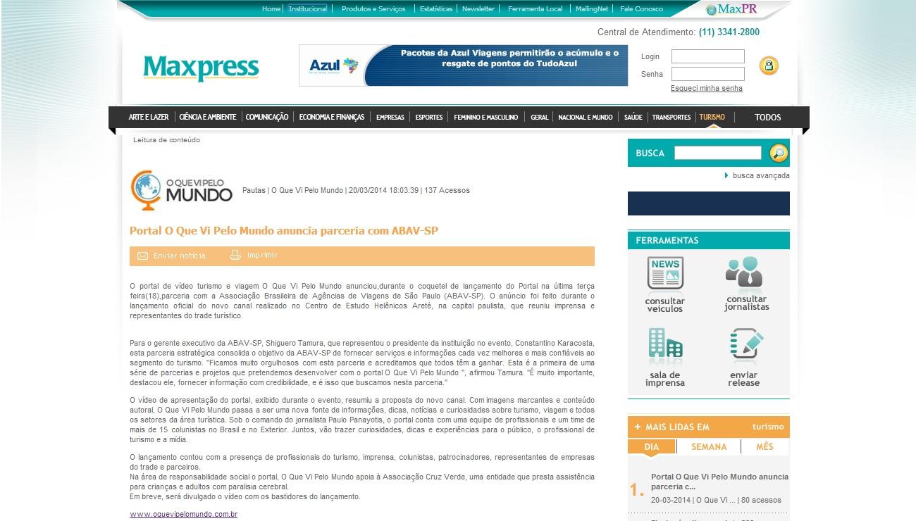 Portal O Que Vi Pelo Mundo anuncia parceria com ABAV-SP
